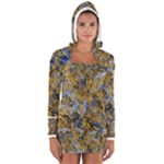 Antique Anciently Gold Blue Vintage Design Women s Long Sleeve Hooded T-shirt