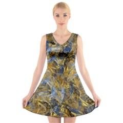 Antique Anciently Gold Blue Vintage Design V Neck Sleeveless Skater Dress by designworld65