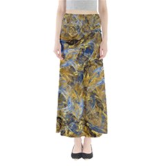 Antique Anciently Gold Blue Vintage Design Maxi Skirts