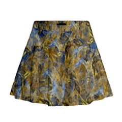 Antique Anciently Gold Blue Vintage Design Mini Flare Skirt by designworld65