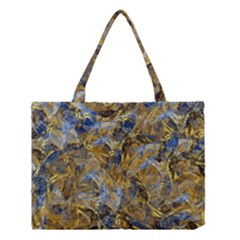 Antique Anciently Gold Blue Vintage Design Medium Tote Bag by designworld65