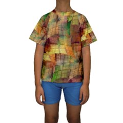 Indian Summer Funny Check Kids  Short Sleeve Swimwear by designworld65