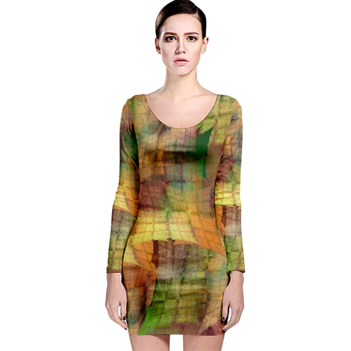 Indian Summer Funny Check Long Sleeve Bodycon Dress