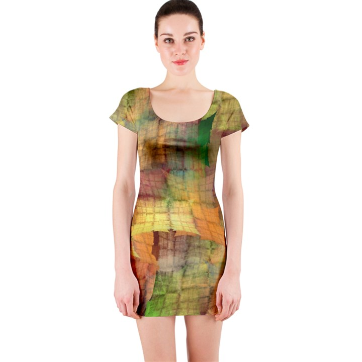 Indian Summer Funny Check Short Sleeve Bodycon Dress