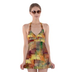 Indian Summer Funny Check Halter Swimsuit Dress by designworld65