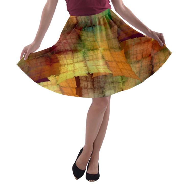 Indian Summer Funny Check A-line Skater Skirt