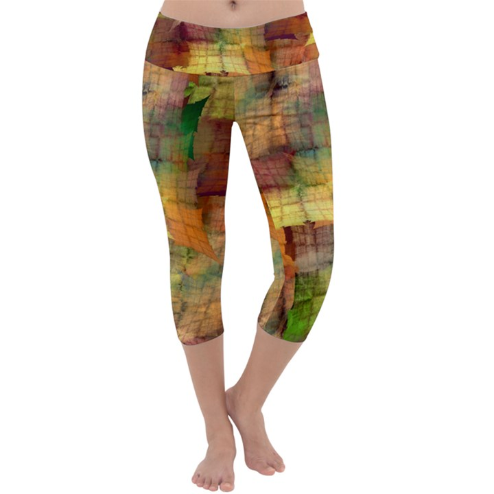Indian Summer Funny Check Capri Yoga Leggings