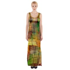 Indian Summer Funny Check Maxi Thigh Split Dress by designworld65