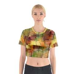 Indian Summer Funny Check Cotton Crop Top by designworld65