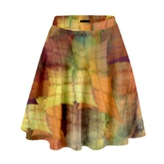 Indian Summer Funny Check High Waist Skirt by designworld65