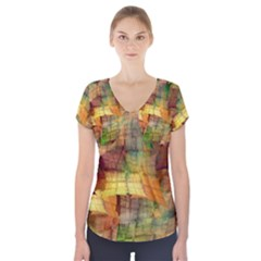 Indian Summer Funny Check Short Sleeve Front Detail Top