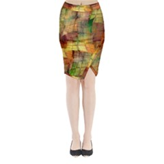 Indian Summer Funny Check Midi Wrap Pencil Skirt by designworld65
