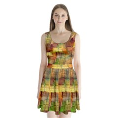 Indian Summer Funny Check Split Back Mini Dress  by designworld65