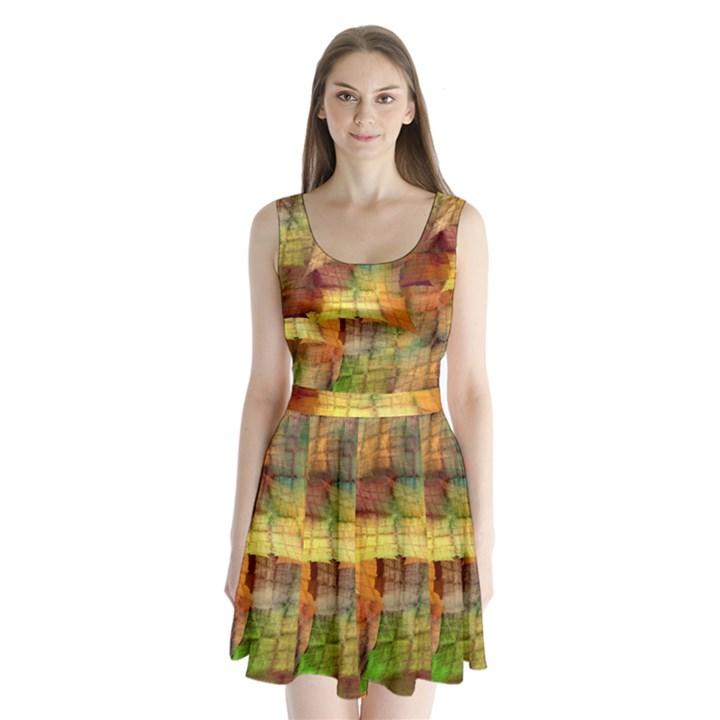Indian Summer Funny Check Split Back Mini Dress