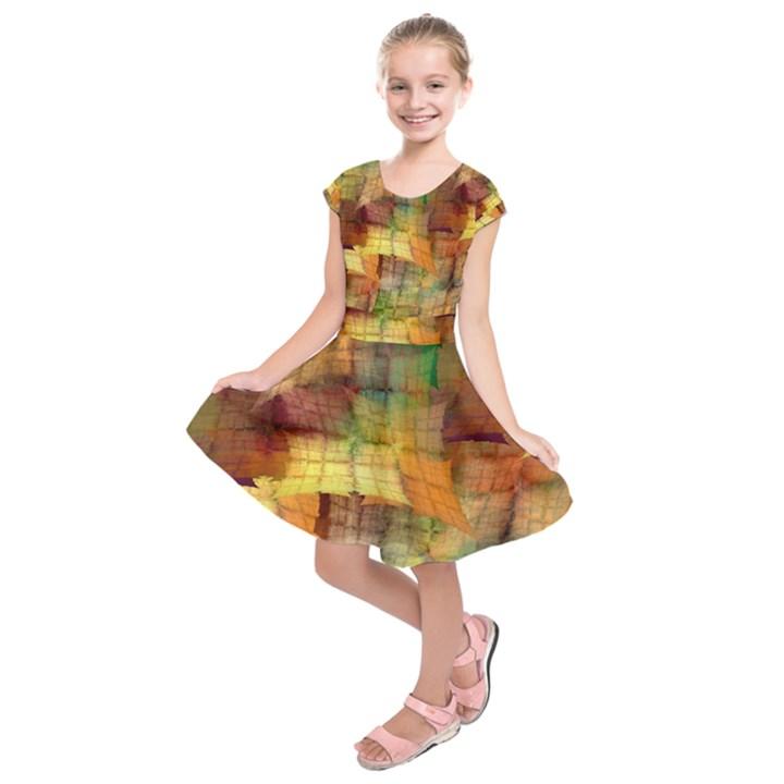 Indian Summer Funny Check Kids  Short Sleeve Dress