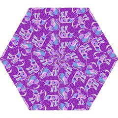 Cute Violet Elephants Pattern Mini Folding Umbrellas by DanaeStudio