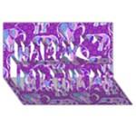 Cute Violet Elephants Pattern Happy Birthday 3D Greeting Card (8x4)