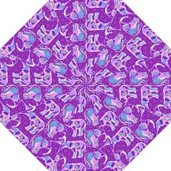 Cute Violet Elephants Pattern Hook Handle Umbrellas (large) by DanaeStudio