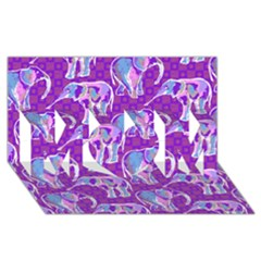 Cute Violet Elephants Pattern Mom 3d Greeting Card (8x4) by DanaeStudio