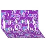 Cute Violet Elephants Pattern MOM 3D Greeting Card (8x4)