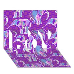 Cute Violet Elephants Pattern Boy 3d Greeting Card (7x5)