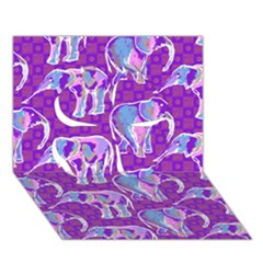 Cute Violet Elephants Pattern Clover 3d Greeting Card (7x5) by DanaeStudio