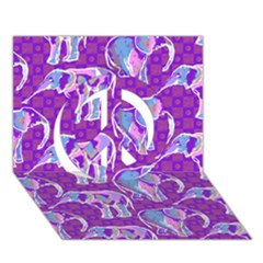 Cute Violet Elephants Pattern Peace Sign 3d Greeting Card (7x5) by DanaeStudio