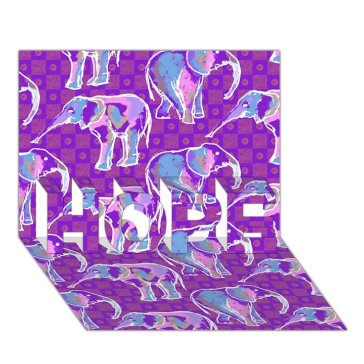 Cute Violet Elephants Pattern HOPE 3D Greeting Card (7x5)