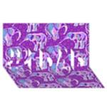 Cute Violet Elephants Pattern #1 DAD 3D Greeting Card (8x4)