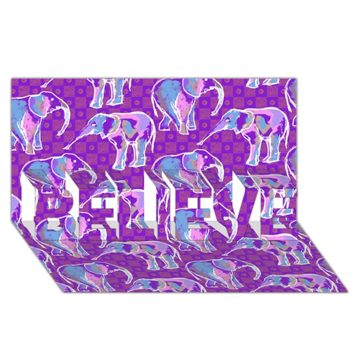 Cute Violet Elephants Pattern BELIEVE 3D Greeting Card (8x4)