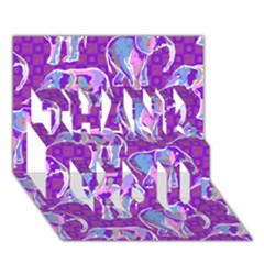Cute Violet Elephants Pattern Thank You 3d Greeting Card (7x5) by DanaeStudio