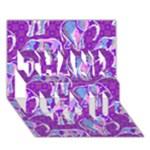 Cute Violet Elephants Pattern THANK YOU 3D Greeting Card (7x5)
