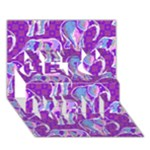 Cute Violet Elephants Pattern Get Well 3D Greeting Card (7x5)
