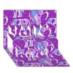 Cute Violet Elephants Pattern You Rock 3d Greeting Card (7x5) by DanaeStudio