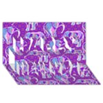 Cute Violet Elephants Pattern Happy New Year 3D Greeting Card (8x4)