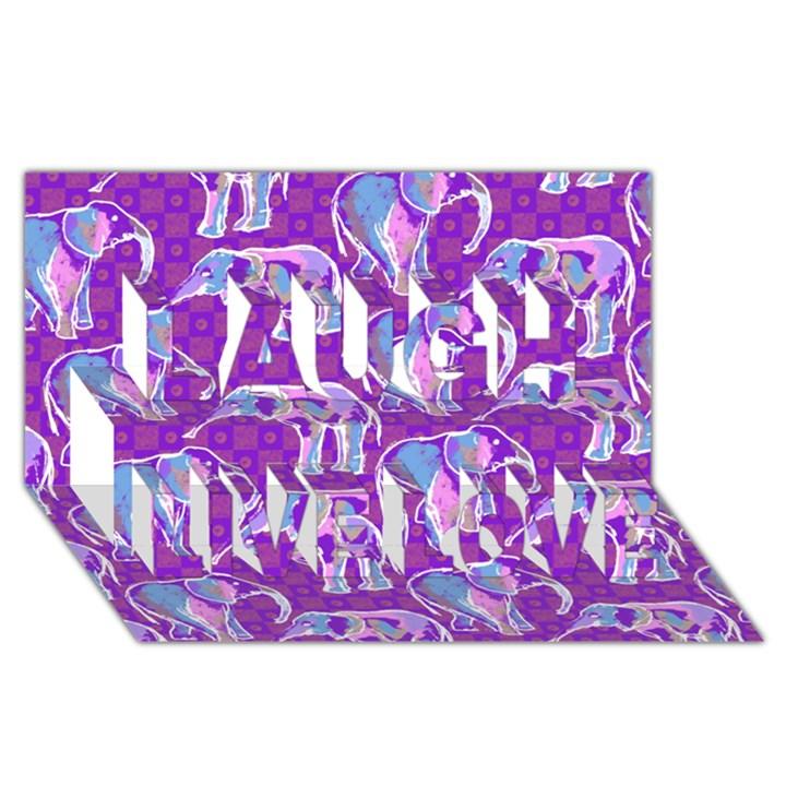 Cute Violet Elephants Pattern Laugh Live Love 3D Greeting Card (8x4)