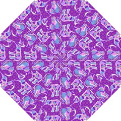 Cute Violet Elephants Pattern Hook Handle Umbrellas (small) by DanaeStudio