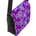 Cute Violet Elephants Pattern Flap Messenger Bag (L)  View2
