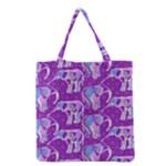 Cute Violet Elephants Pattern Grocery Tote Bag