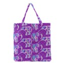 Cute Violet Elephants Pattern Grocery Tote Bag View1