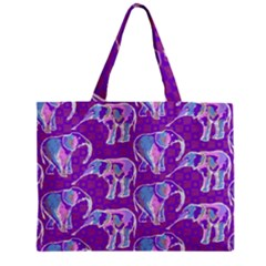 Cute Violet Elephants Pattern Mini Tote Bag by DanaeStudio