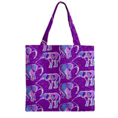 Cute Violet Elephants Pattern Zipper Grocery Tote Bag by DanaeStudio