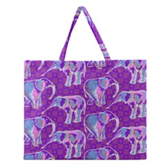 Cute Violet Elephants Pattern Zipper Large Tote Bag by DanaeStudio