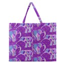Cute Violet Elephants Pattern Zipper Large Tote Bag View1