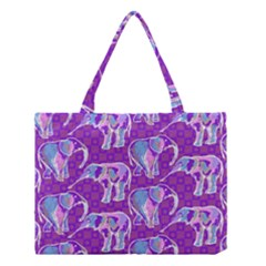 Cute Violet Elephants Pattern Medium Tote Bag by DanaeStudio