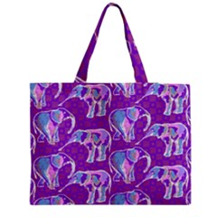 Cute Violet Elephants Pattern Medium Zipper Tote Bag by DanaeStudio