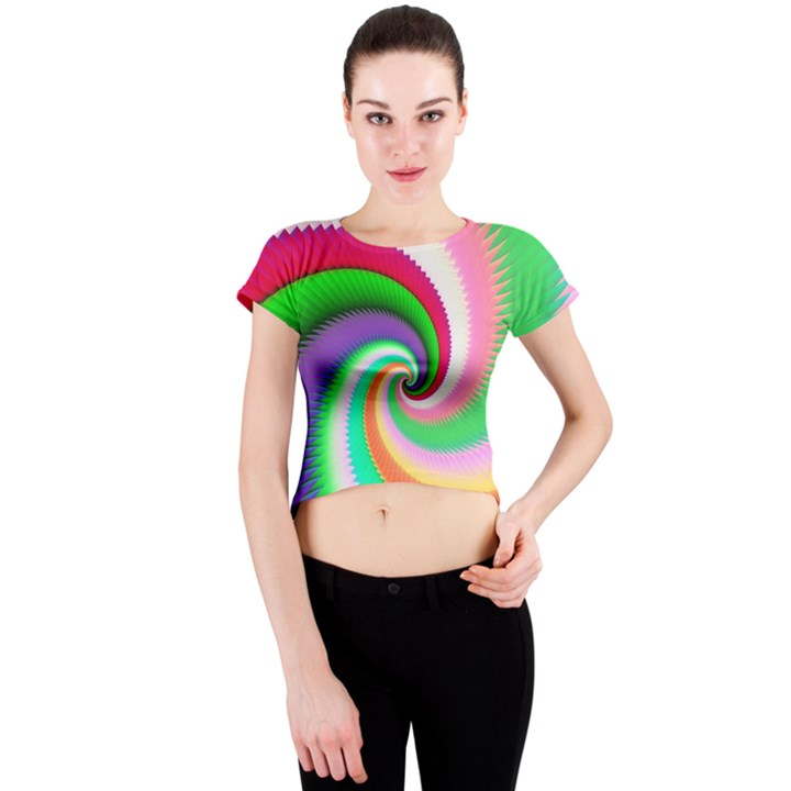 Colorful Spiral Dragon Scales   Crew Neck Crop Top