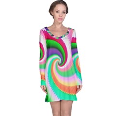 Colorful Spiral Dragon Scales   Long Sleeve Nightdress
