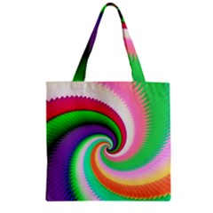 Colorful Spiral Dragon Scales   Zipper Grocery Tote Bag by designworld65