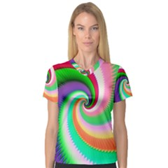 Colorful Spiral Dragon Scales   Women s V Neck Sport Mesh Tee